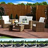 Rattan Outdoor Garden Furniture Patio Conservatory 4 Seater Sofa and Armchair set with Cushions and Coffee Table. Grey Brown Black (Light Mix Brown with Light Cushions, Algarve 2+1+1)
