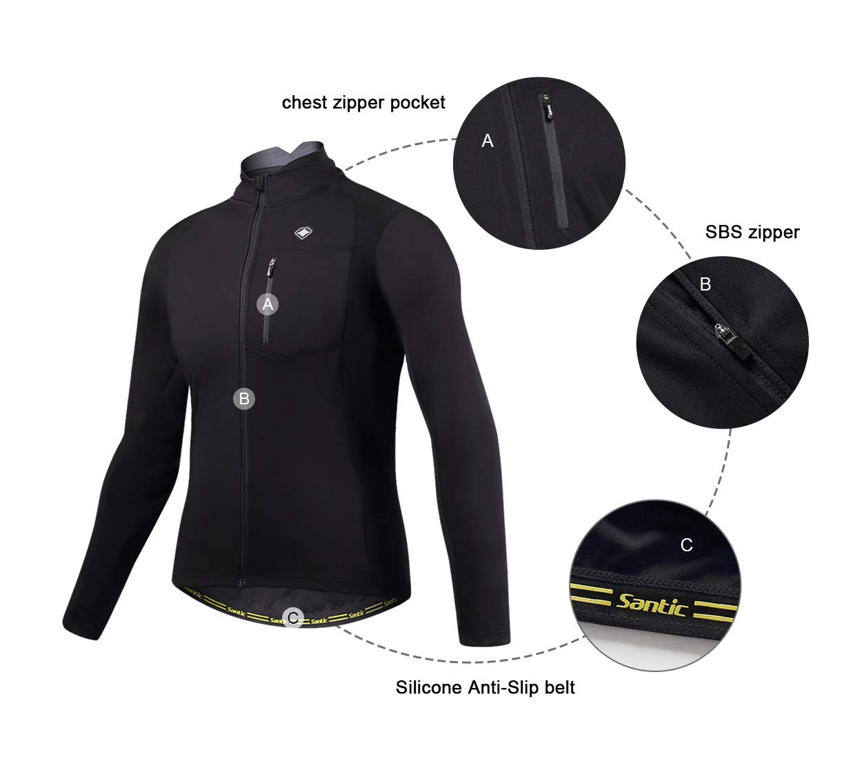 Santic Bike Winter Jacket Windproof Fleece Thermal Warm UP Cycling Bicycle Jerseys Long Sleeves