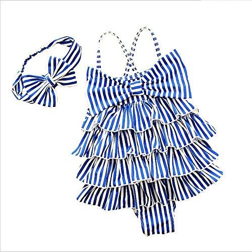 YyZCL Girls One-piece Striped Swimsuit Bow Swim Dress Sling Swimsuit Cupcake Dress (Size : (Cupcake Costumes Pattern Kids)