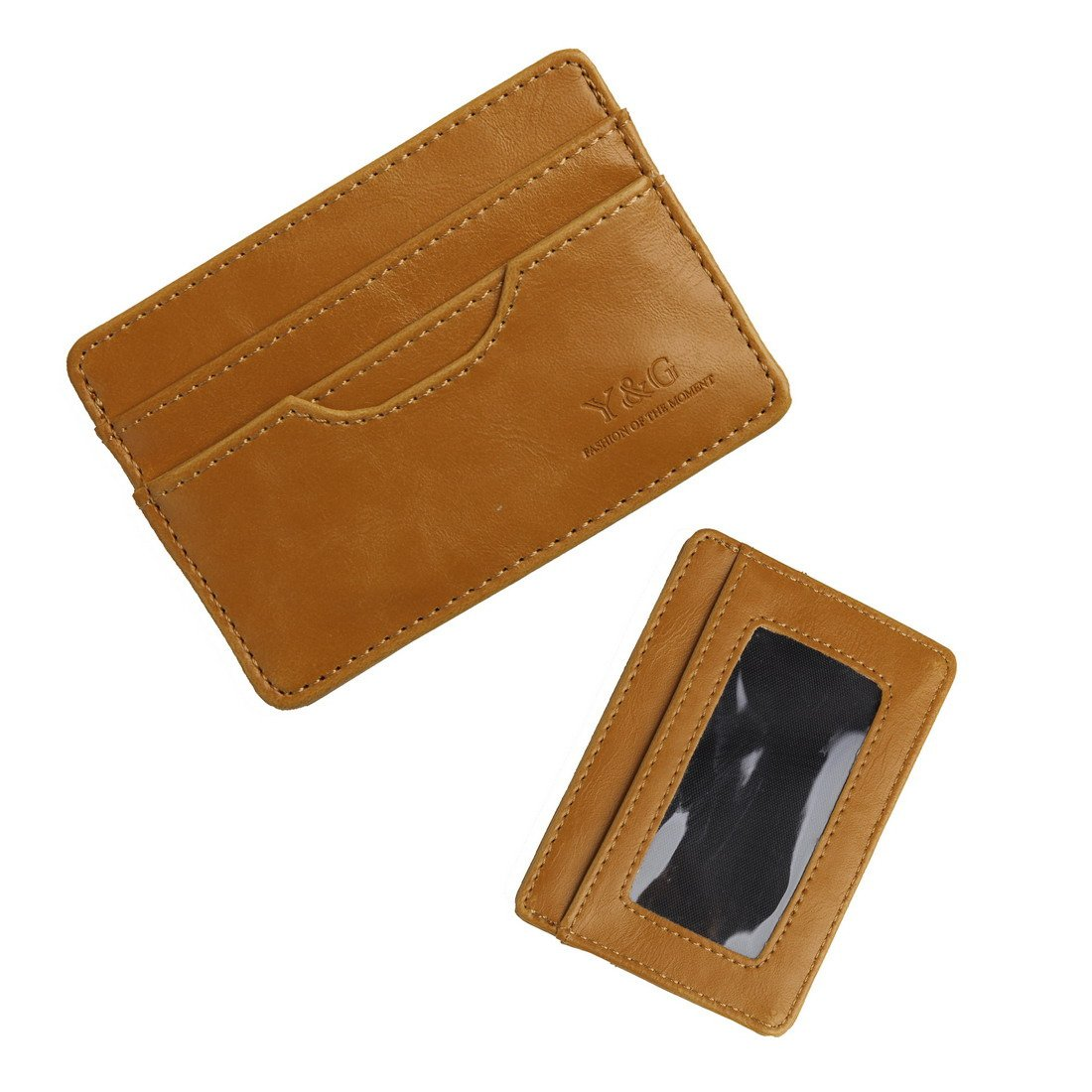 YCM040102 Dark Brown Id Card Holder With 5 card holder Gift For Men Gift For Men By Y& G Credit/Id Case Holder Wallet