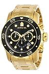 Invicta 0072 Pro Diver Collection - Reloj cronógrafo para hombre (chapado en oro de 18 quilates), color dorado y negro