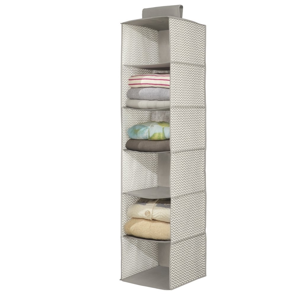 mDesign Long Soft Fabric Over Closet Rod Hanging Storage Organizer with 6 Shelves for Clothes, Leggings, Lingerie, T Shirts - Textured Print with Solid Trim - Gray MetroDecor 1473MDCO