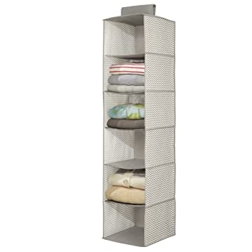 MDesign Fabric Wardrobe Storage Unit, Shelf Storage Organiser With 6  Compartments   Hanging Wardrobe Shelves