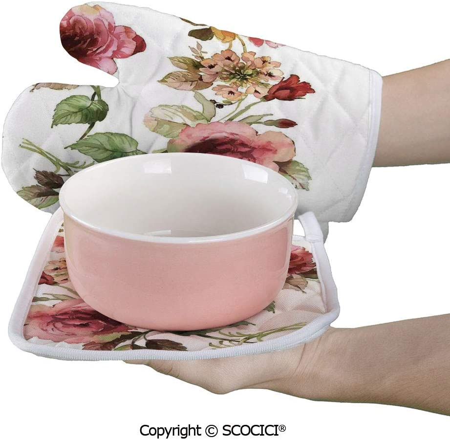 SCOCICI Oven Mitts,Professional Heat Resistant Shabby Chic Roses Buds Leaves Tulips Floral Details ColorfulNatural Non-Slip Kitchen Oven Glove for Cooking,Baking,Barbecue Potholders