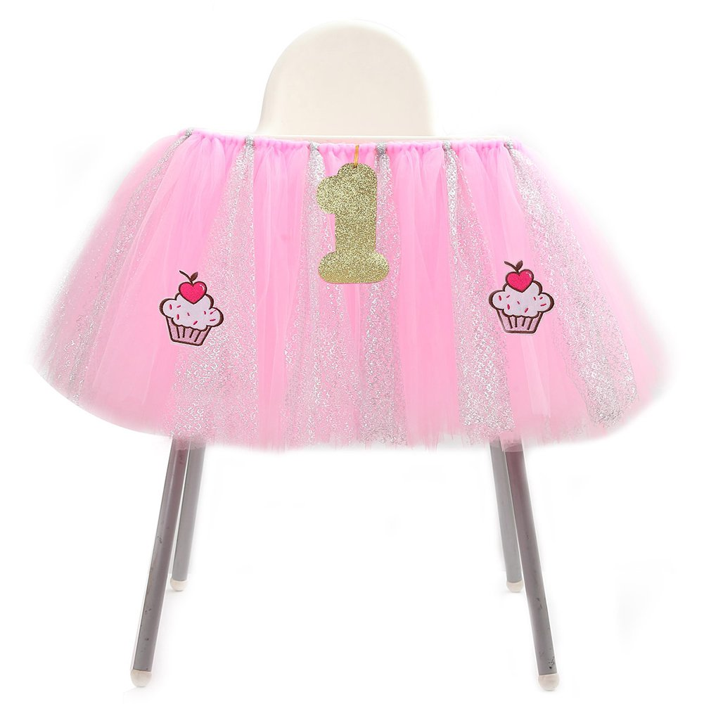 Adeeing 1st Birthday High Chair Tulle Table Skirt (Cupcake)