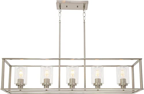 VINLUZ Indoor Linear 5 Light Kitchen Island Chandelier in Brushed Nickel Finish with Clear Glass Shade Cage Metal Frame Pendant Lighting for Living Room Bedroom