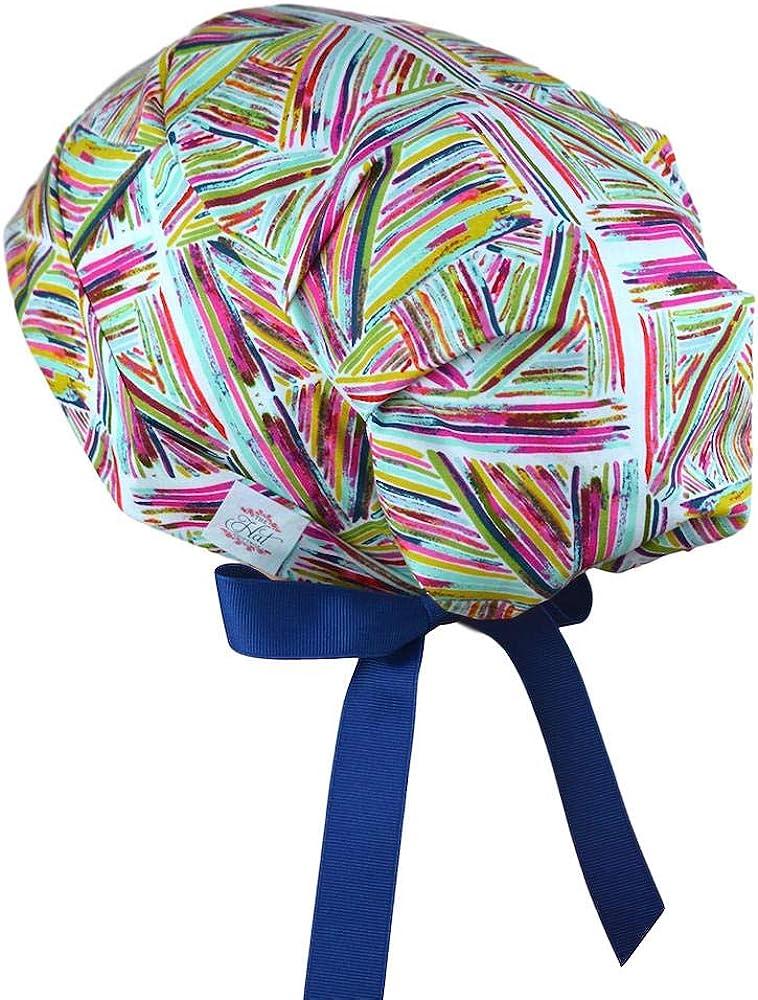 Optional Buttons Chemo Scrub Cap Size Small TIE SCRUB CAP Pink Bandana Print Cotton Fabric Back Ties Washable