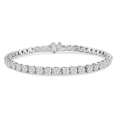 d849b11982b8e AGS Certified 14 Karat White Gold 9 Carat Diamond Tennis Bracelet, Round  Shape, Available in 6-9 Inch Lengths, Diamond Weight Varies Per Length