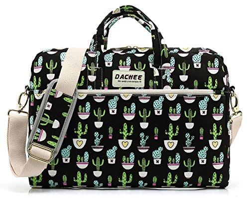 DACHEE Black Cactus Pattern 15 inch Canvas Waterproof Laptop Shoulder Messenger Bag for 15.6 inch Laptop 15 Laptop Case