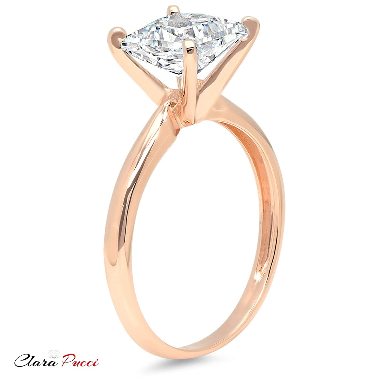 14k Rose Gold 0.47cttw Classic Princess Solitaire Moissanite Engagement Promise Ring Statement Anniversary Bridal Wedding by Clara Pucci