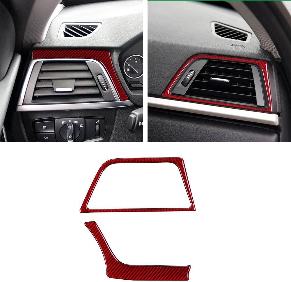ramuel Compatible with Interior Carbon Fiber Door Audio Speaker Sound Horn Decoration Trim Ring Sticker for BMW 3 Series GT F30 F32 F34 2013 2014 2015 2016 2017 4Pcs Black
