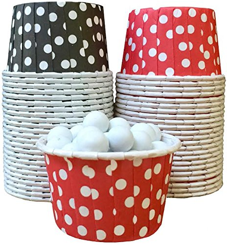 Outside the Box Papers Polka Dot Candy Nut Cups 48 Pack Black, White, Red ()