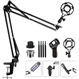 Eastshining Upgraded Adjustable Microphone Suspension Boom Scissor Arm Stand with Shock Mount Mic Clip Holder 3/8'' to 5/8''