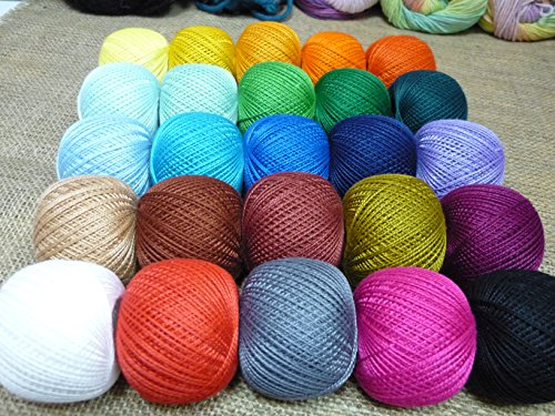 (100% Mercerized Cotton Yarn Hand Knitting Lace Crochet Thread Assorted Yarn Skeins Colors Huge Mixed Lot of 25 skn 625gr 4100yds Multicolor)