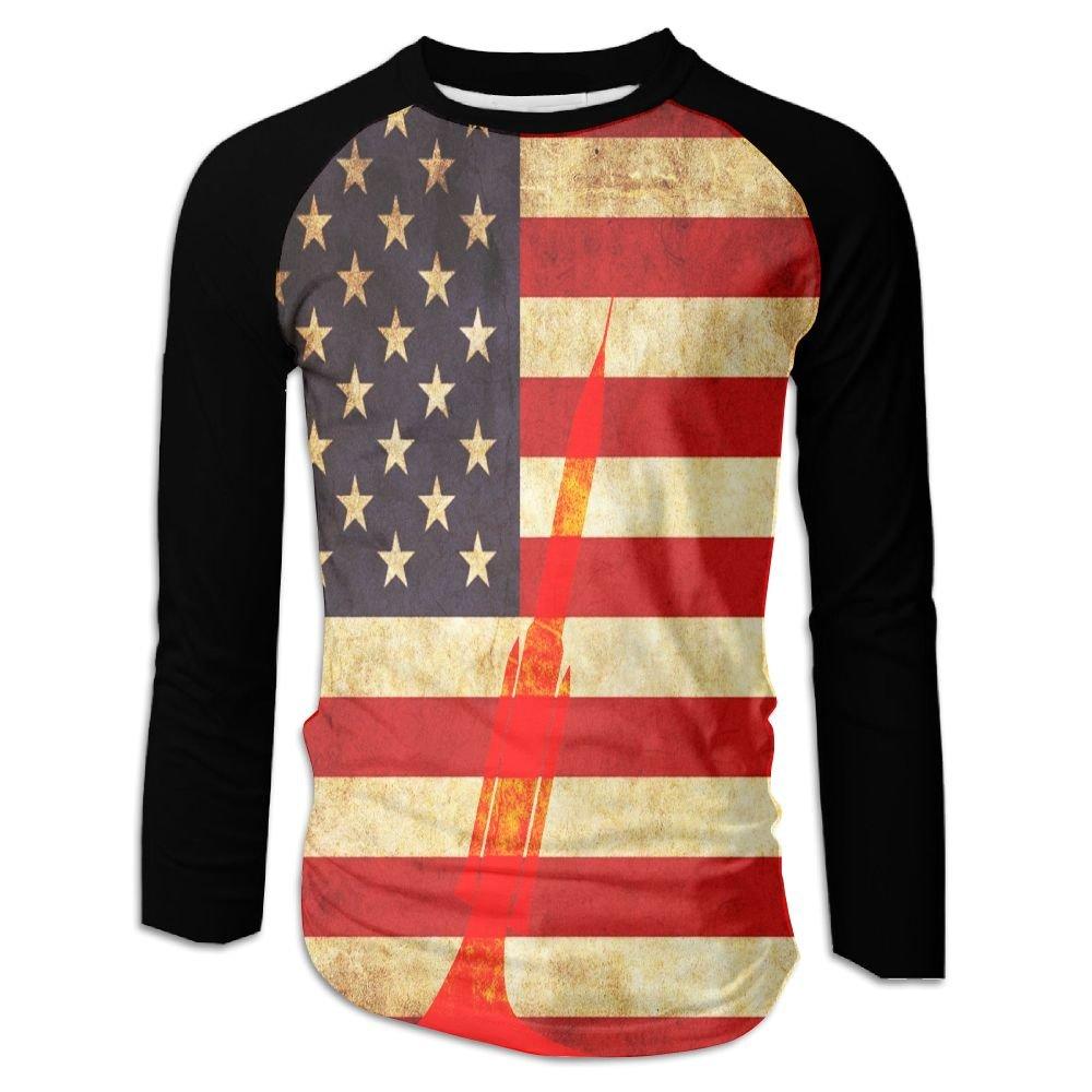 Henslk Vintage American Flag Rocket Launch Casual Novelty Crew Neck Raglan Bas Shirts