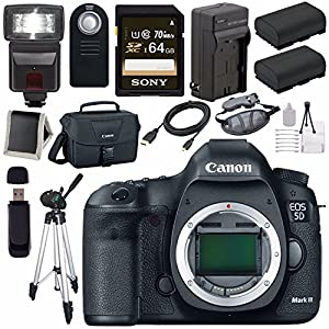 Canon EOD 5D III Digital Camera + LPE-6 Lithium Ion Battery + External Rapid Charger + Canon 100ES EOS shoulder bag Bundle 2