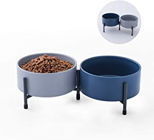 32 oz Ceramic Dog Cat Bowl Set of 2 with Elevated Metal Stand - 6 Inch Ceramic Round Pet Food and Water Feeder Bowl Dish for Cats & Small Dogs - Blue & Grey