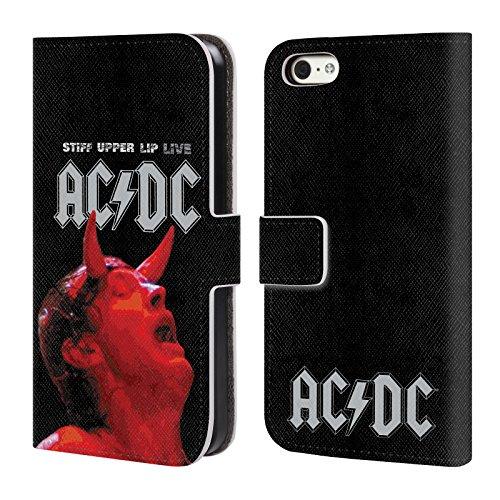 Officiel AC/DC ACDC Flegme En Direct Art D'album Étui Coque De Livre En Cuir Pour Apple iPhone 5c