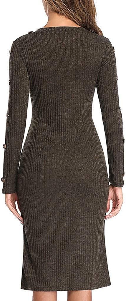 Nihewoo Women T-Shirt Sweater Dress Knited Dress Office Work Dress Winter Autumn Pullover Dress Slim Party Dress
