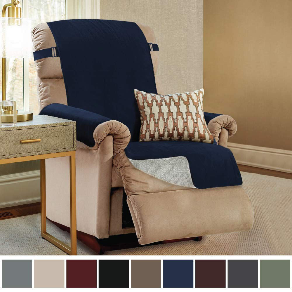 Pets Gorilla Grip Original Slip Resistant Recliner Slipcover Protector Dogs Patent Pending Recliner Hook Seat Width Up to 26 Inch Suede-Like Navy Blue 2 Inch Straps Furniture Cover for Kids