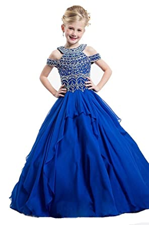 Amazon.com: Sunday Girls Off The Shoulder Beaded Crystal Ball Gowns ...