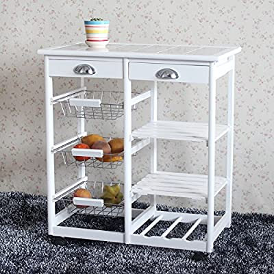 Teekland Wood Rolling Kitchen StorageCart?Trolley with Two Drawers/One Wine Rack