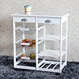 wood trolley cart - Teekland Wood Rolling Kitchen StorageCart,Trolley with Two Drawers/One Wine Rack (White)