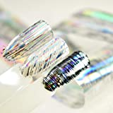 100x4cm Roll Super Holographic Nail Art Foil Stripe Line Silver Laser Nail Glue Transfer Sticker Decals Can be Use for UV Gel