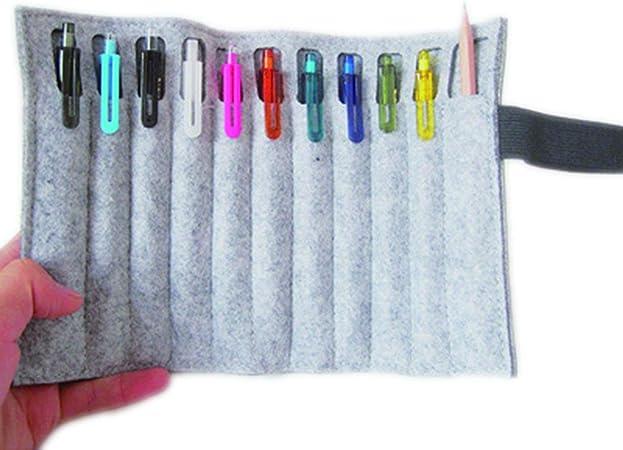 1 estuche enrollable de fieltro para lápices, bolsa de almacenamiento para bolígrafos, estuche de regalo para papelería, oficina, escuela, suministros, color Light Gray No Pen talla única: Amazon.es: Oficina y papelería