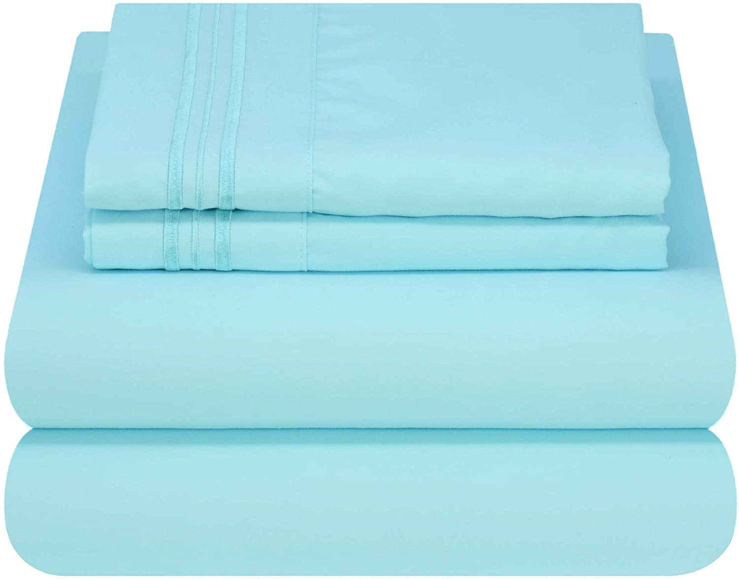 Mezzati Luxury Bed Sheet Set - Soft and Comfortable 1800 Prestige Collection - Brushed Microfiber Bedding (Light Blue, Full Size)