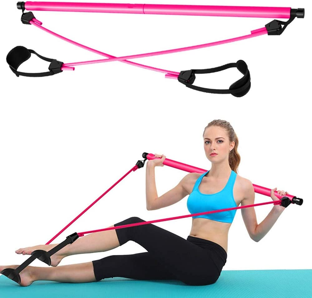 Amazon Com Portable Pilates Bar Kit With Resistance Band Home Gym Workout Package With Foot Loop Yoga Stick For Total Body Exercise Stretch Sculpt Twisting Sit Up Bar Resistance Band Pink Home Kitchen