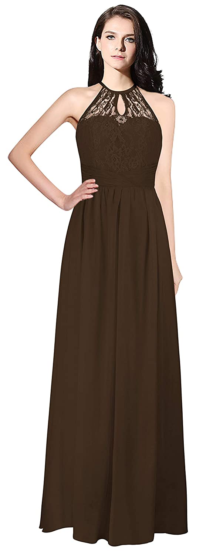 Chocolate MaliaDress Womens Backless Long Halter Bridesmaid Dress Prom Gown M266LF
