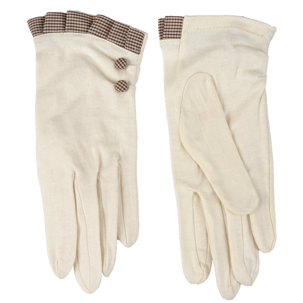 Kenmont Summer Women Lady Uv Protection Cotton Outdoor Driving Gloves (Beige)