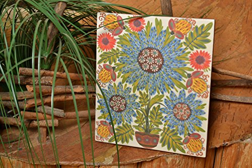 Clay Painted Tile Majolica Ceramics Handmade Painted Wall Panel