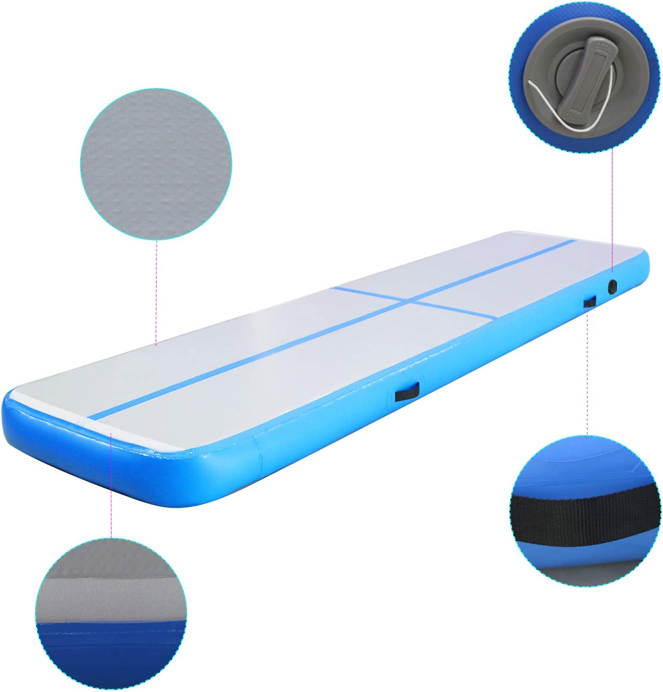 Inflatable Gymnastics Air Track Tumbling Mat 10ft/13ft/16ft for Toddler/Adults, Gym Air Floor Yoga Mat for Outdoor ...