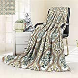 AmaPark Digital Printing Blanket Middle Islamic with Effects Print Umber Yellow Cream Summer Quilt Comforter