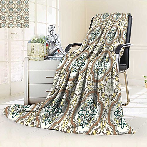 AmaPark Digital Printing Blanket Middle Islamic with Effects Print Umber Yellow Cream Summer Quilt Comforter by AmaPark