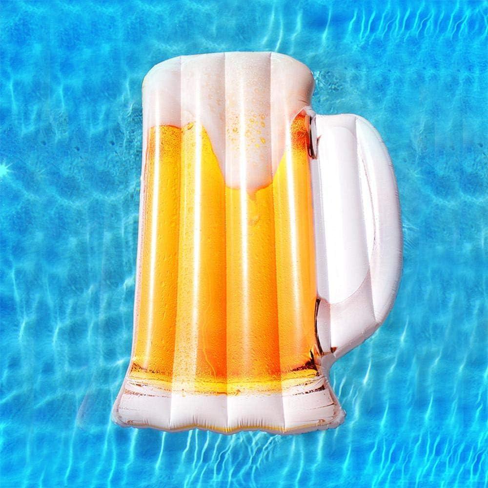 HBL-SPORT Juguetes inflables Verano Nueva Jarra de Cerveza Fila Flotante, Anillo de baño para Adultos Ocioso, Silla de Cama, Fiesta en la Piscina - 182 cm