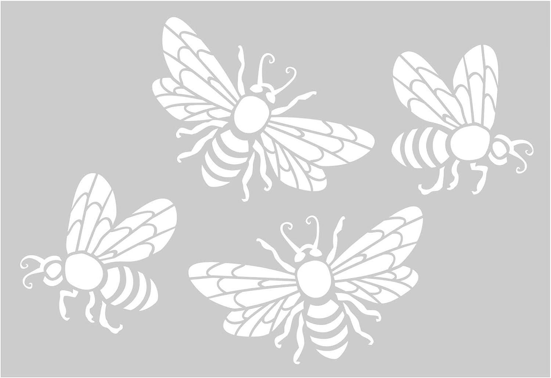 Metal Monkey Stickers Set of Four Honey Bees Wall Art Matt Vinyl Tile Mirror Cupboard Decal 100mm Apple Green