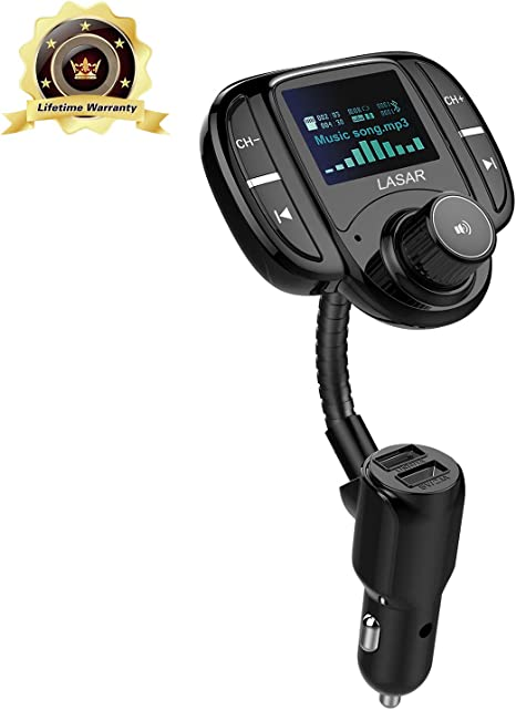 LASAR QC3.0 Bluetooth FM Transmitter,Wireless Radio Adapter Hands-Free Calling Car Kit and Smart Dual USB Port