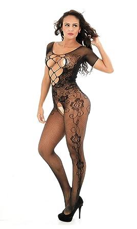 Amazon.com: Steen de la mujer sexy negro rejilla body ...