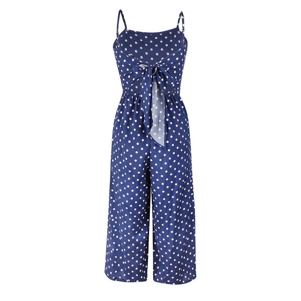 Topgee Womens Jumpsuits Summer Polka Dot Spaghetti Strap Sleeveless Casual Romper