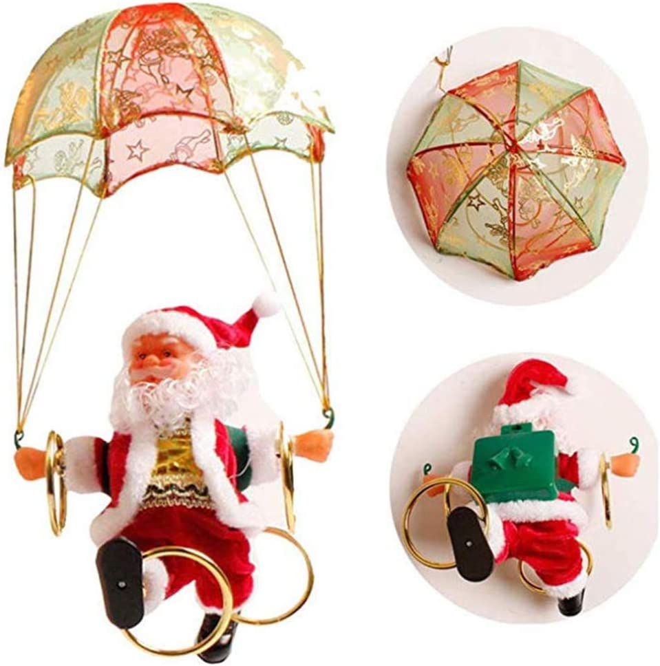 Electric Parachute Santa Claus Plush Doll Singing Dance Creative Christmas Electric Toy Gift for Hanging Ornament Tree Indoor Outdoor Decoration,Santaclaus Aostuo Skydiving Hula Hoop Santa Decoration
