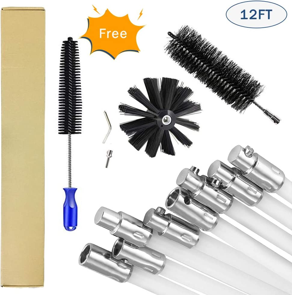 Flexible Chimney Cleaner Brush Rotary Sweep System Fireplace Kit Rod Tool 12Ft