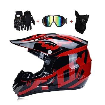 LEENY Adulto Motocross Cascos de Motos con Gafas Guantes Máscara, Cascos de Cross Motocicleta DH