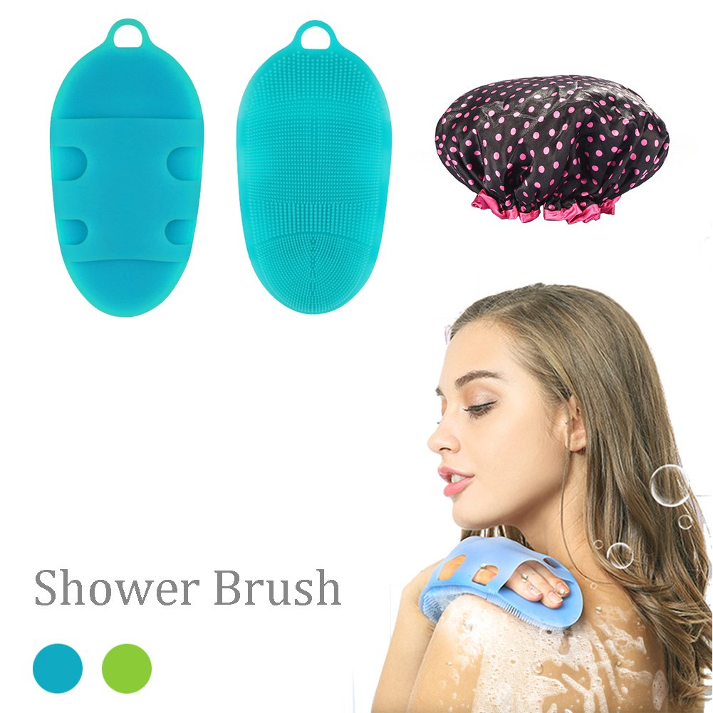Silicone Body Brush, iado Bath Shower Brush Skin SPA Massage Scrubber Shower Glove Soft Body Brush with A Shower Cap (Blue)