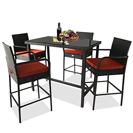 Cool Leaptime Patio Bar Stools Furniture Dining Set Rattan 1 Bar Table 4 Stools Pe Wicker Bar Set Stools Table Set Garden Outdoor Set Black Wicker Orange Spiritservingveterans Wood Chair Design Ideas Spiritservingveteransorg