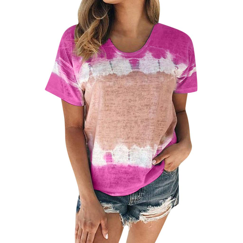 Shirts for Women Work Casual Gibobby T-Shirt Plus Size Summer Short Sleeve Round Neck Patchwork Loose Tees T-Shirt Tops