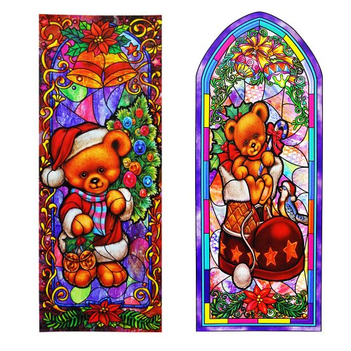 Reusable Stain Glass Window Clings - 2 Pack Teddy Bear - Bear Glass Teddy Stained