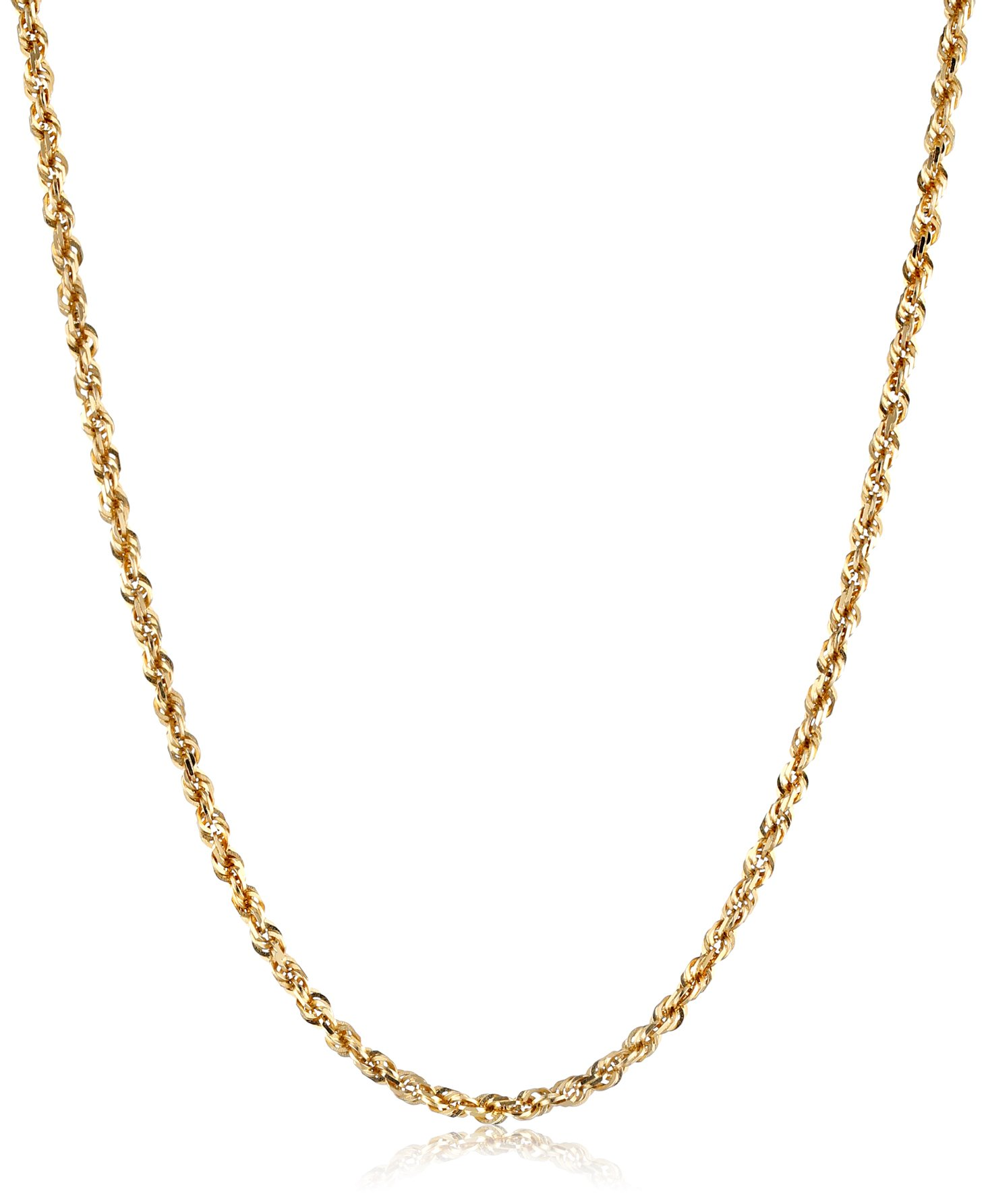 Men's 14k Yellow Gold Solid Diamond-Cut Rope Chain Necklace (3.0mm), 20''
